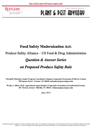 Food Safety Modernization Act FDA Q & A Sessions Proposed Produce Safety Rule