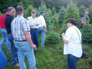 New Jersey Christmas Tree growers share tips on tree care during NJCTGA twilight meeting at Black Oak Farm. Photo: Tim Dunne
