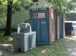 Hand washing station outside of port a john