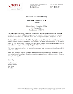 Dickeya White Potato Meeting Flyer