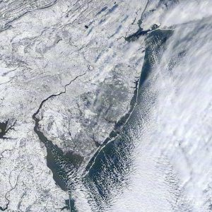 Aerial photo of the state of New Jersey showing snow cover this week