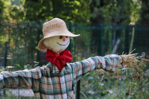 human-like figure with plaid shirt and straw hands, red bow tie, cloth face smiling, and straw hat